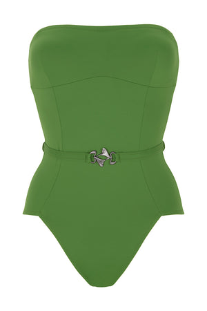 Luxury Designer Swimwear FoxTrot green bandeau strapless swimsuit front