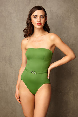 Luxury Designer Swimwear FoxTrot green bandeau strapless swimsuit