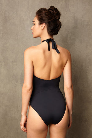 Luxury Designer Swimwear GoGo black halter neck swimsuit