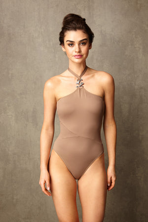 Luxury Designer Swimwear GoGo taupe halter neck swimsuit