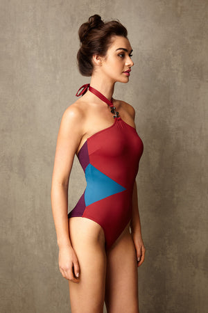 Luxury Designer Swimwear block colour GoGo red halter neck swimsuit