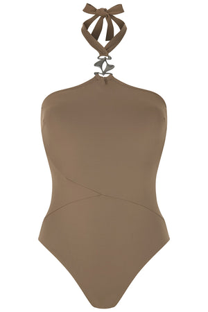 Luxury Designer Swimwear GoGo taupe halter neck swimsuit front