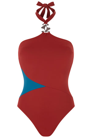Luxury Designer Swimwear block colour GoGo red halter neck swimsuit front
