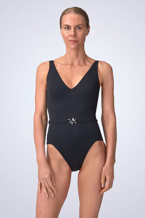 VecTra V-Neck belted Black Swimsuit Front