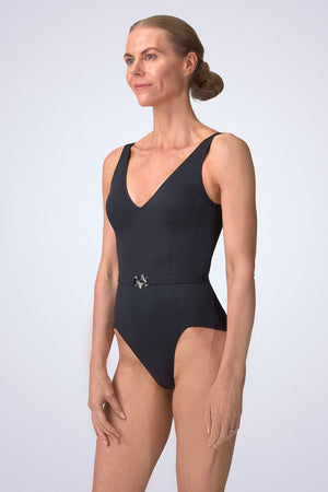 VecTra V-Neck belted Black Swimsuit side