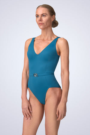 VecTra V-Neck belted Lagoon Blue Swimsuit Side