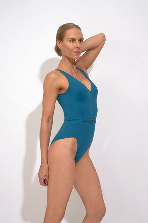 VecTra V-Neck belted Lagoon Blue Swimsuit Front