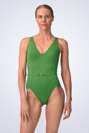 VecTra V-Neck belted Rainforest Green Swimsuit Front