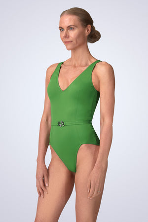 VecTra V-Neck belted Rainforest Green Swimsuit Side