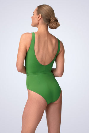 VecTra V-Neck belted Rainforest Green Swimsuit Back