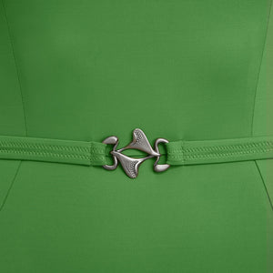 VecTra V-Neck belted Rainforest Green Swimsuit Belt Detail