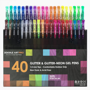 Professional Gel Pens For Coloring 40 UNIQUE GLITTER & GLITTER-NEON