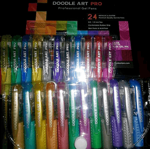 Gel Pens For Coloring 24 GLITTER & METALLIC