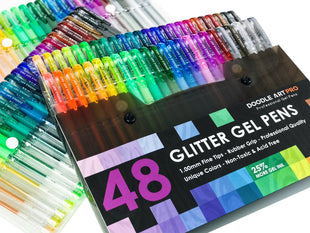 48 Glitter Gel Pens - Unique Colors - Professional Gel Pens For Adult Coloring Books