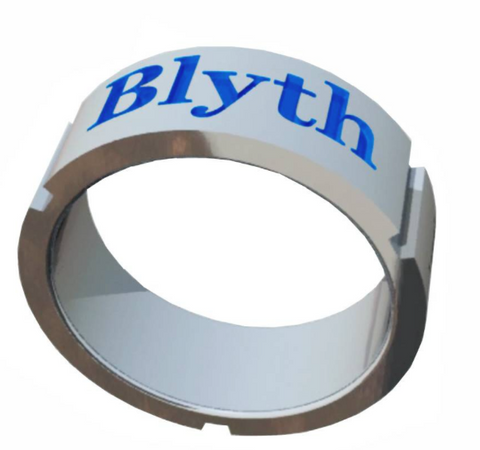 The Blyth School Ring  - Band Design With Blue Enamel