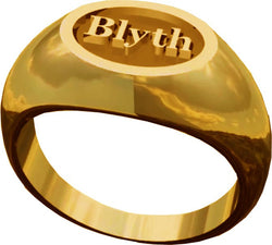 The Blyth School Ring  - Oval Design in Gold with Matte Finish