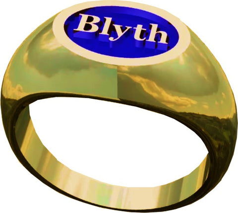 The Blyth School Ring  - Oval Design in Gold with Blue Enamel