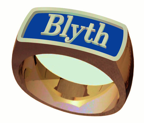 The Blyth School Ring  - Signet Classic Design in Gold with Blue Enamel