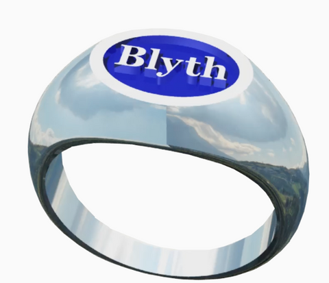 The Blyth School Ring  - Oval Design With Blue Enamel