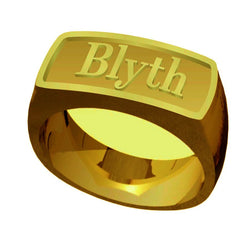 The Blyth School Ring  - Signet Classic Design in Gold in Matte Finish