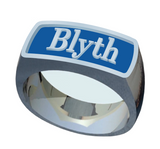 The Blyth School Ring  - Signet Classic With Blue Enamel
