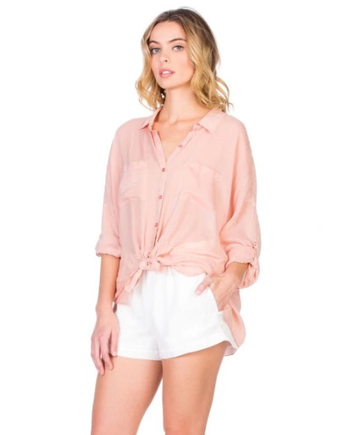 Pink Rose Button Down