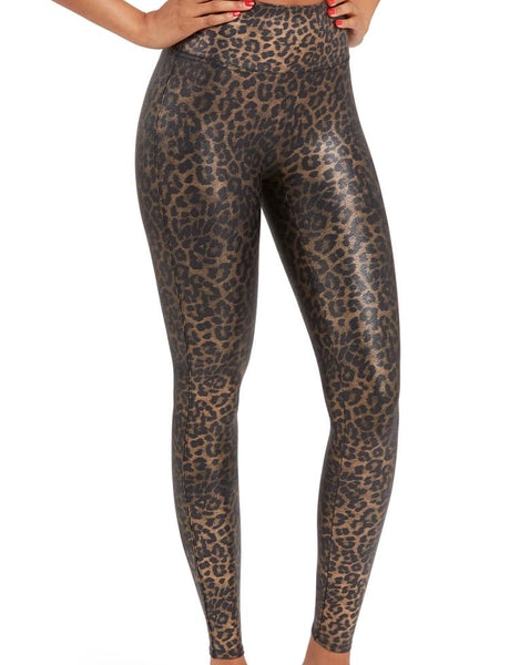 Faux Leather Leggings- Metallic Leopard