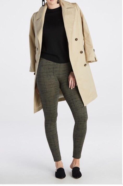 Olive Crosshatch Seamless Leggings