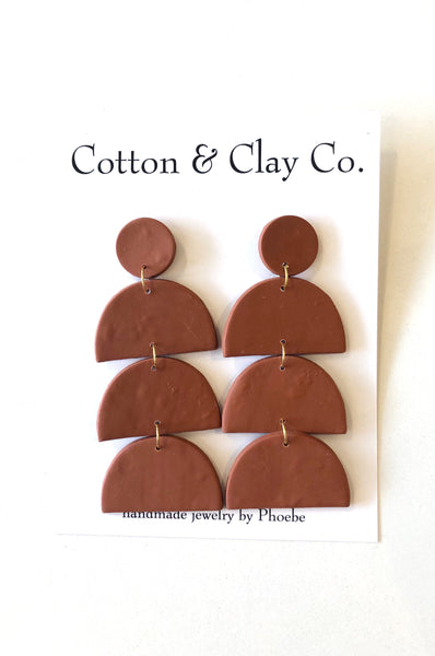Tall Clay Stack Earrings