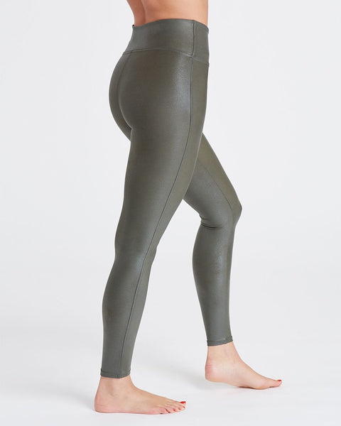 Olive Faux Leather Leggings