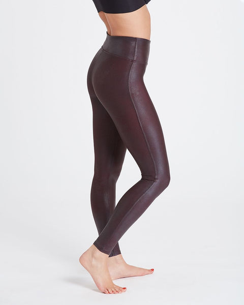 Wine Faux Leather Leggings