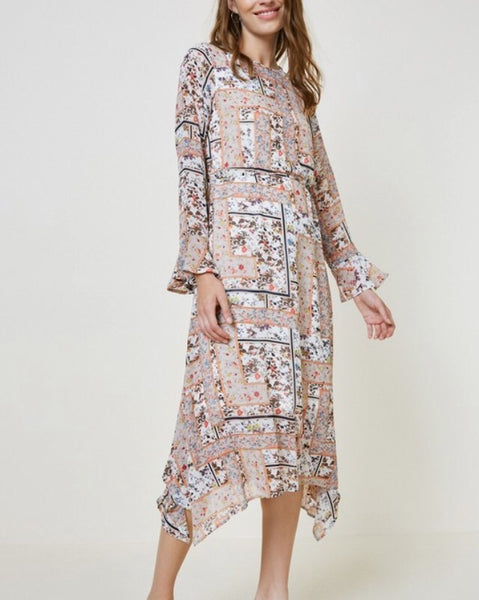 Handkerchief Hem Midi Dress