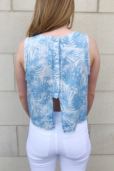 Frayed Button-Back Tank