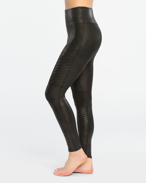 Black Leather Moto Leggings