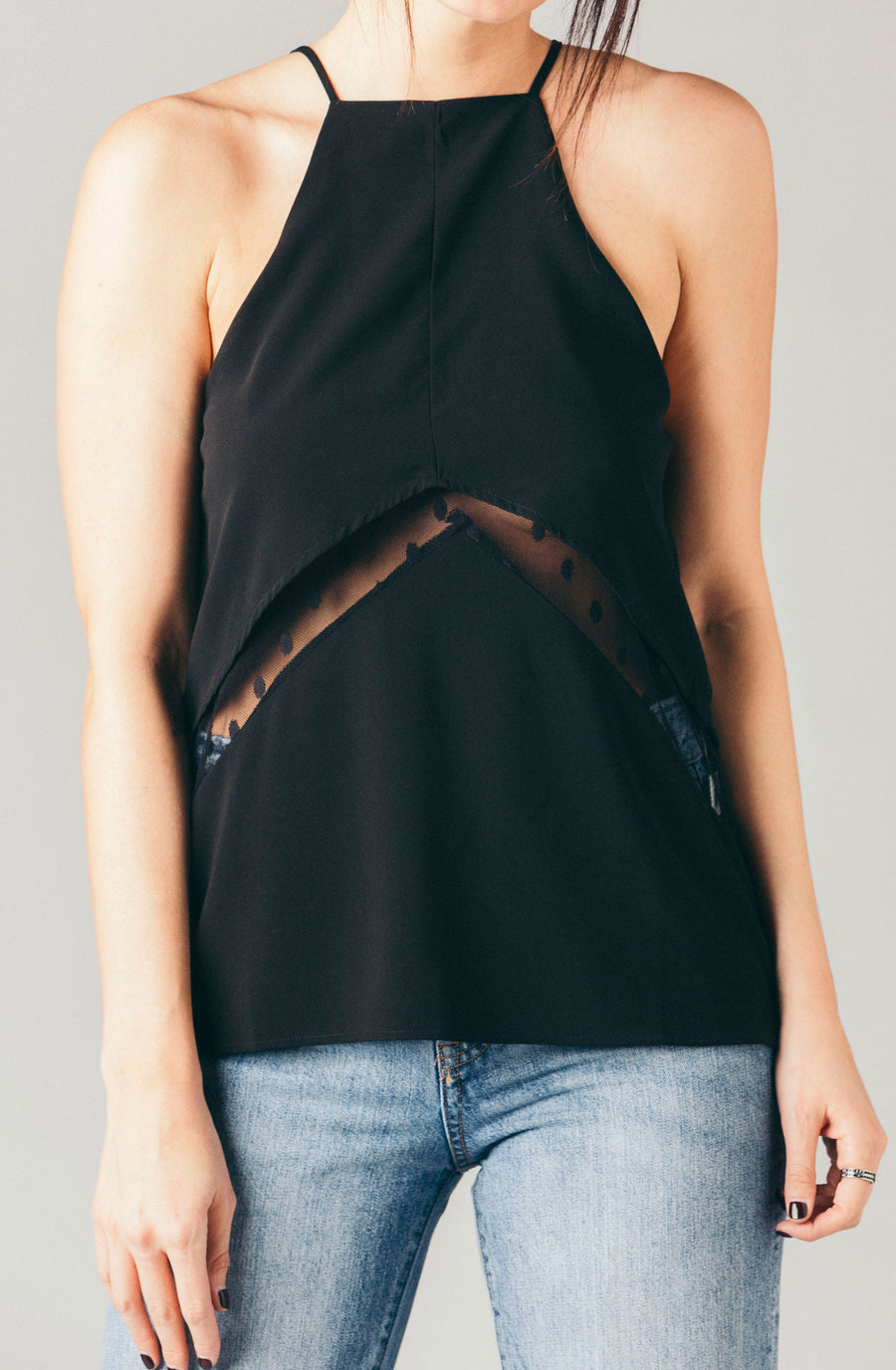 The Coverii black high square neck cami top with polka dot swiss dot lace panel peekaboo at waist.