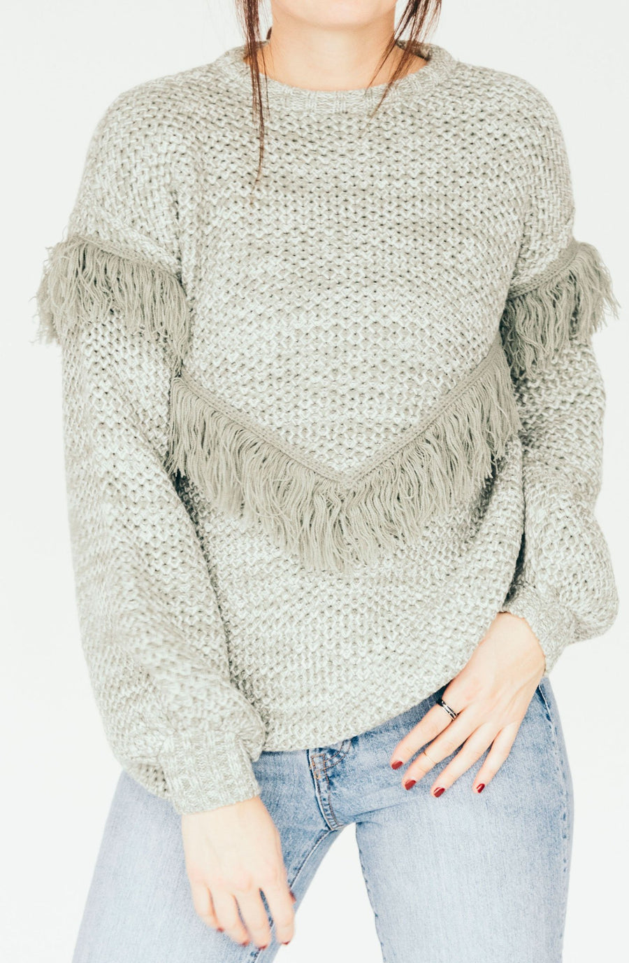 rue stiic wella knit fringe sweater - grey