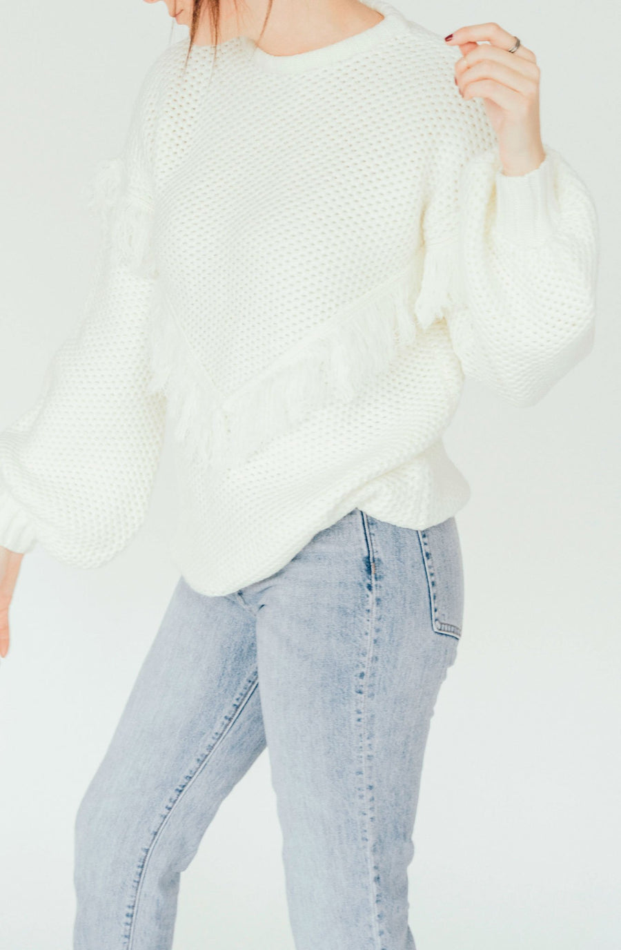 rue stiic wella knit fringe sweater - cream