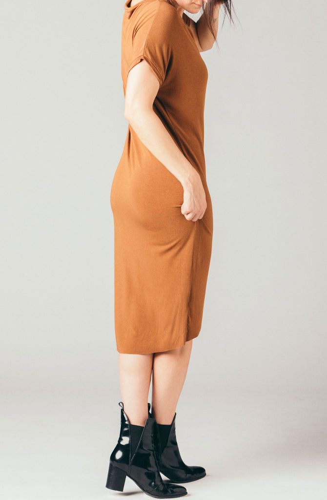 Corinne Collection rust brown short sleeve loose stretchy t-shirt dress, below the knee, knee length soft jersey fabric with cap sleeve.