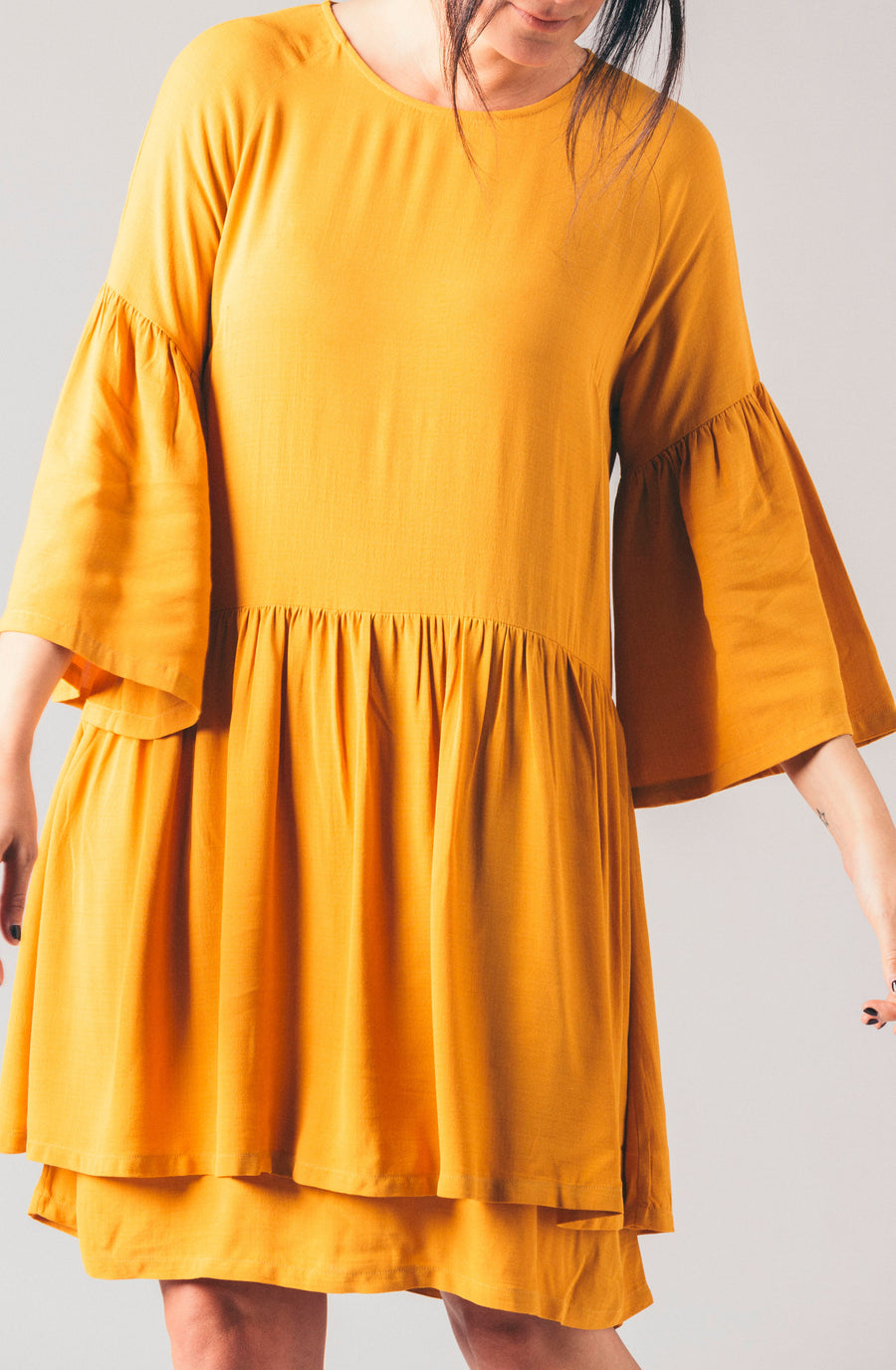 Just Female gold layered ruffled long sleeve open back loose flowy dress.
