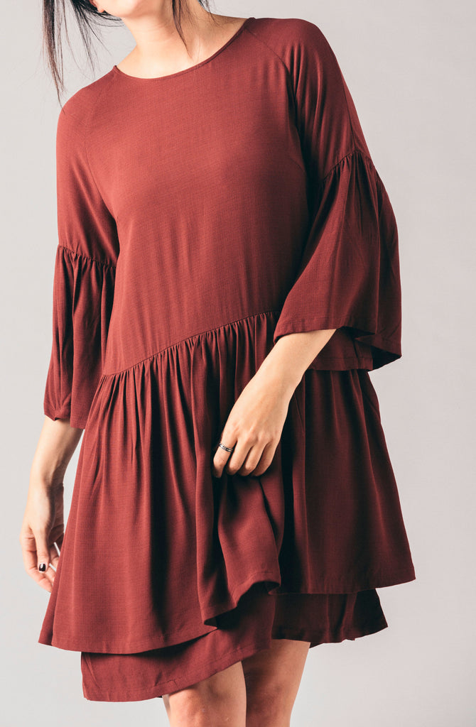 Just Female port layered ruffled long sleeve open back loose flowy dress.