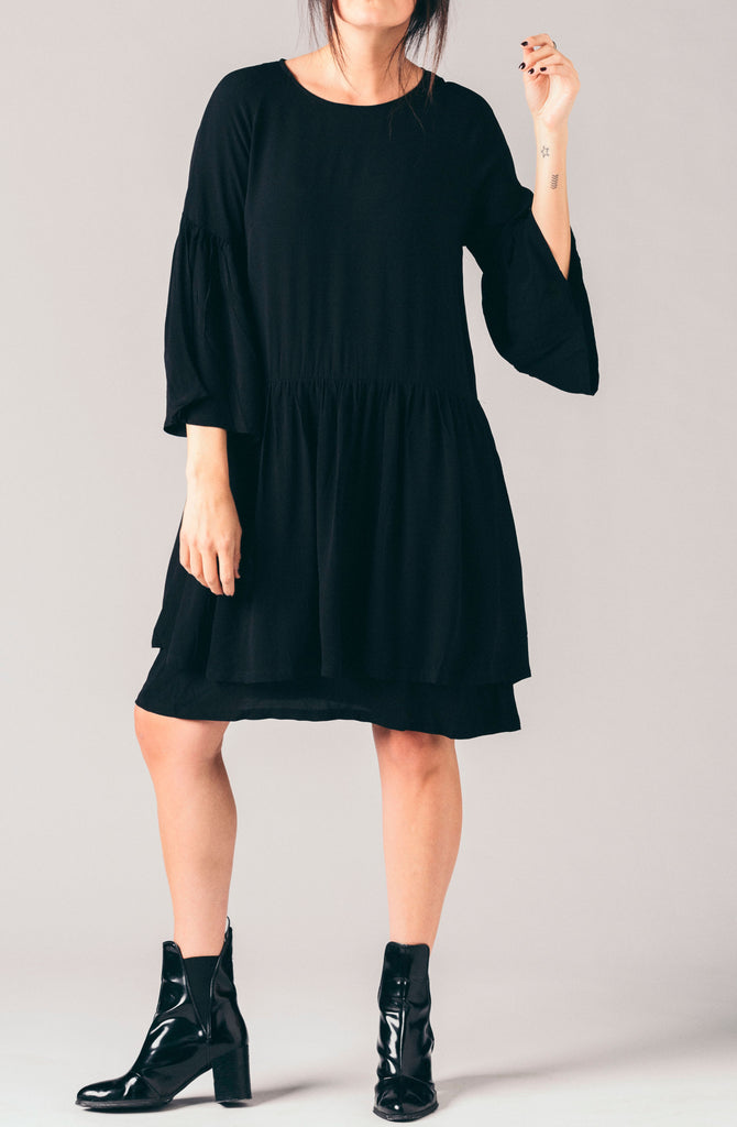 Just Female black layered ruffled long sleeve open back loose flowy dress.