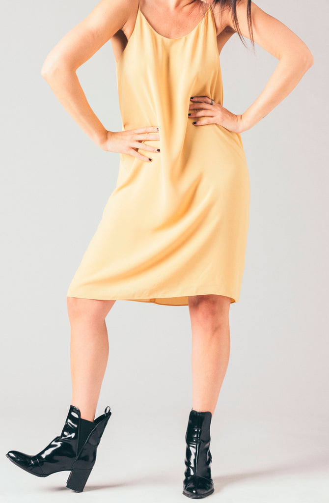Just Female gold racerback cami knee length dress.