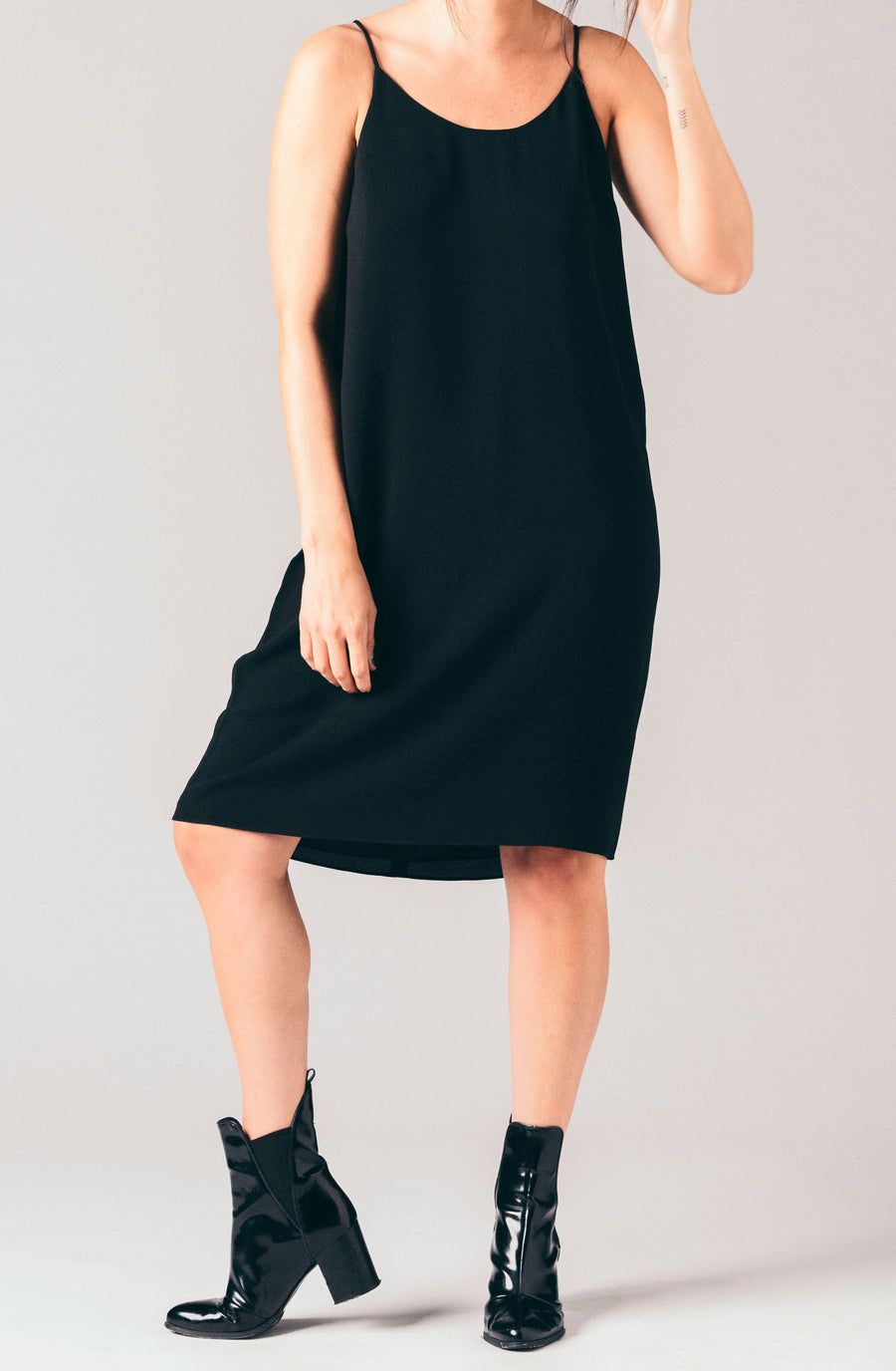 Just Female black racerback cami knee length dress.