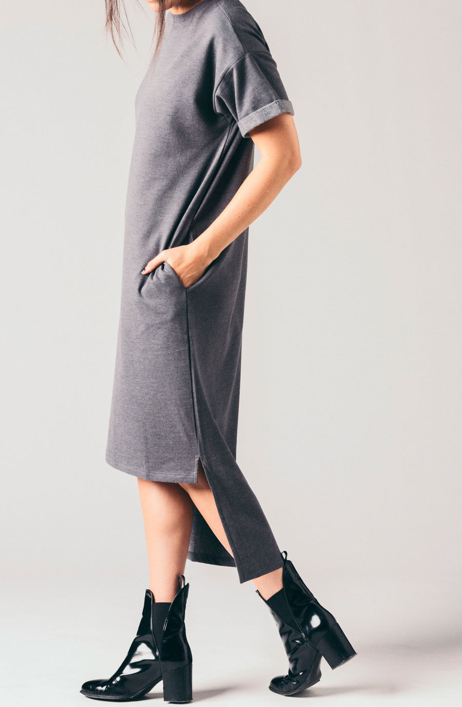 Native Youth grey high low soft, sweatshirt t-shirt dress.
