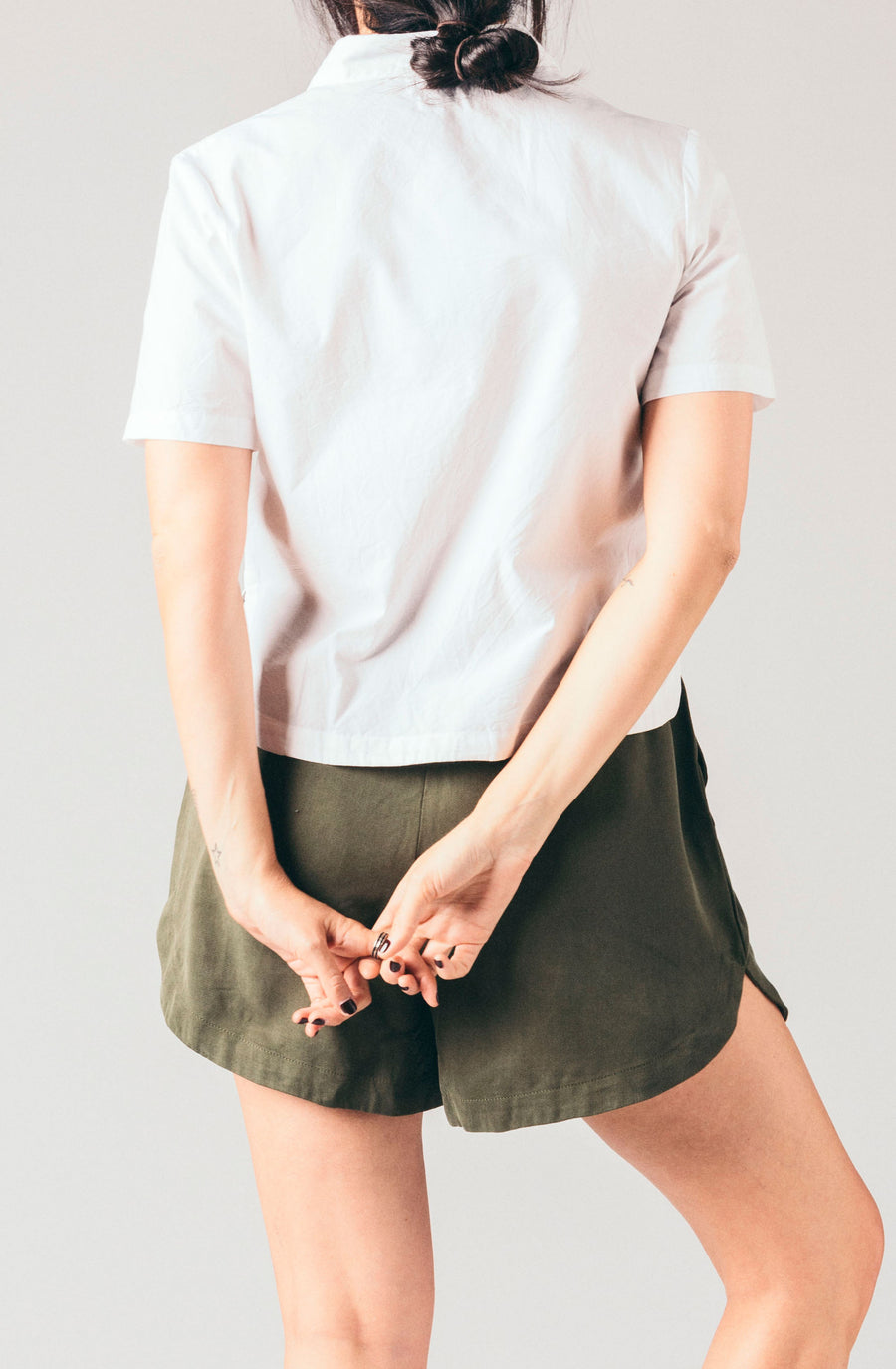 Native Youth cropped white boxy short sleeve blouse.