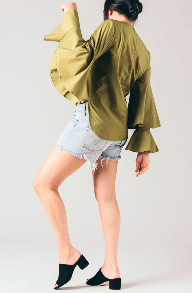 Style Mafia olive green, fatigue green large volume bell sleeve ruffle sleeve blouse.