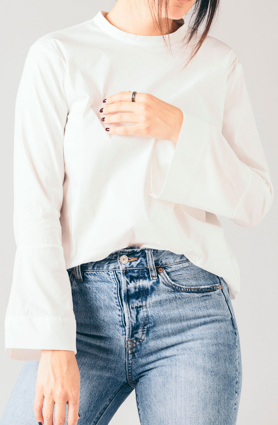 Just Female white collarless straight bell sleeve blouse.