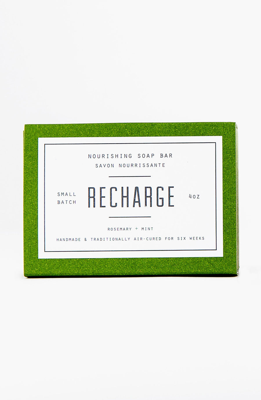 Woodlot Vegan Nourishing Bar Soap with olive oil, coconut oil and avocado oil - Recharge scent