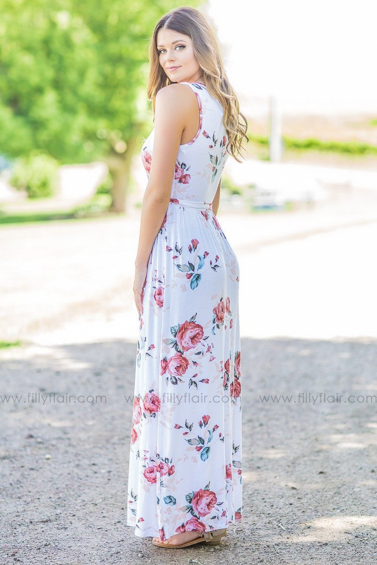 5d8a147b45e Summer Days Ivory Floral Maxi Dress with Tie Belt – FillyTest