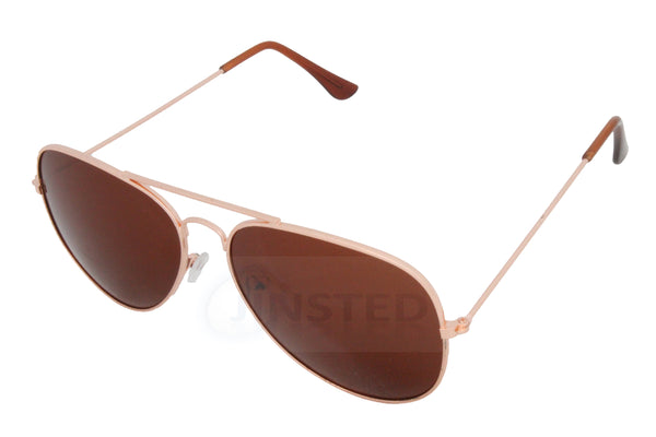 Adult Brown Aviator Sunglasses with Gold Frame